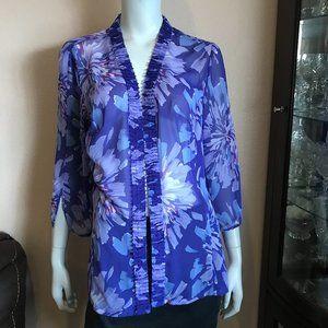 Adrianna Papell Kimono Purple White Floral Sheer